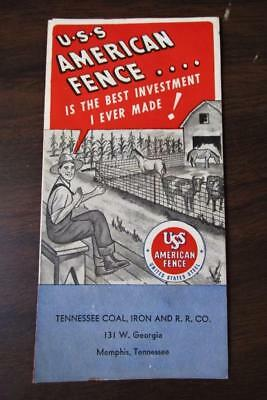 VTG 1940's U-S-S AMERICAN FENCE TENNESSEE COAL IRON R. R. CO. BROCHURE PAMPHLET