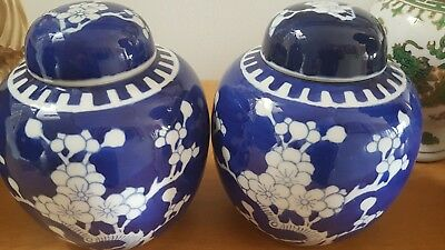 GOOD TRUE PAIR ANTIQUE CHINESE  PRUNUS PATTERN GINGER JAR VASES With cork seals
