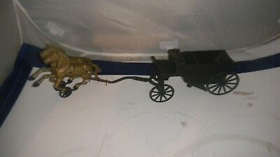 Antique/Vintage Cast Iron Toy Dump Wagon W/ Two Horse Pull Team