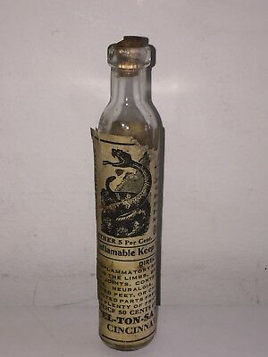 "Antique 5.5"" Medicine Bottle w SNAKE on Paper Label - Millerhaus' Antiseptic Oil"