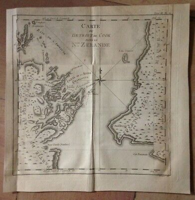 NEW ZEALAND 1774 JAMES COOK XVIIIe CENTURY DETAILED ANTIQUE COPPER ENGRAVED MAP