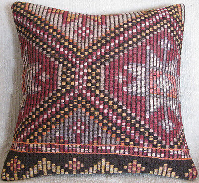 Turkish Hand Woven Zili Kilim Pillow Cover From Mut 15.7'' x 15.7''