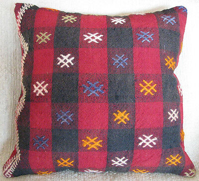 Turkish Hand Woven Cicim(embroidery) Kilim Pillow Cover 16.14'' x 16.53''