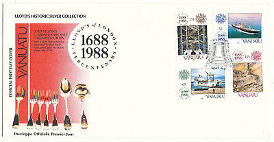 "Vanuatu ""lloyd's Of London Tercentenary"" # 485-488 Fdc (1988)"
