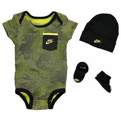 Nike Romper Hat & Booties 3 Piece Set Baby Boys Yellow Camo Size 0-6 Months New