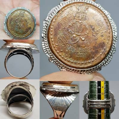 Silver Unique Ring With Ancient Persian King Bronze Rare Coin   # 3A