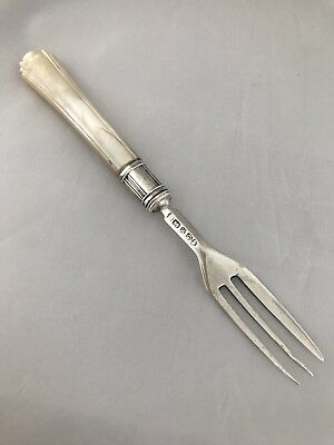 Victorian Silver & Mother Of Pearl Fork 1855 Sheffield Martin Hall