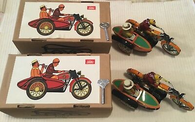 PAYA Reproduction : motorcycle with sidecar x 2 pieces , made in China ,TIN toys
