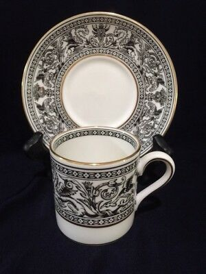 WEDGWOOD CHINA BLACK FLORENTINE DEMITASSE CUP/SAUCER (listing is for one set)