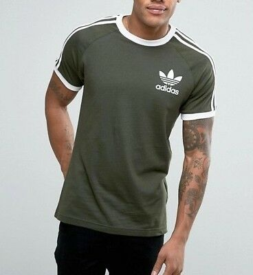 Original  Adidas Men's Trefoil California Crew Neck Retro Tee Olive S-XXL BQ5369