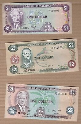 $1, $2, $5, $10 and $20 Jamaica Banknotes No Pinholes or Tears