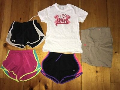 Girls M(10-12)Nike Under Armour North Face Athletic Clothes Lot 4-Shorts 1-Shirt