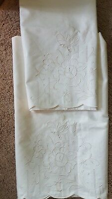 Vintage Pair of Pillowcases All White Embroidered Open Work  Flower scrolls