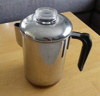 Vintage Revere 1801 4-6 Cup Copper Bottom Stainless Steel Coffee Pot