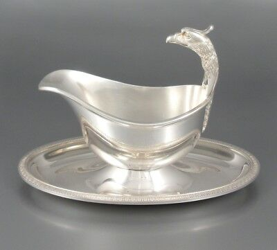 Vintage French Christofle Gallia Silver Plate Gravy Boat, Malmaison Empire Eagle