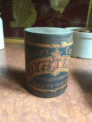 Antique Metal Oyster Can Bottom Hole Intact Brittle Label Very rare