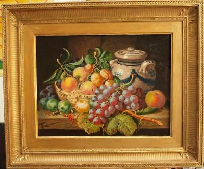 Large 19th Century STILL LIFE FRUIT BOWL ON LEDGE Antique Oil Painting SIGNED