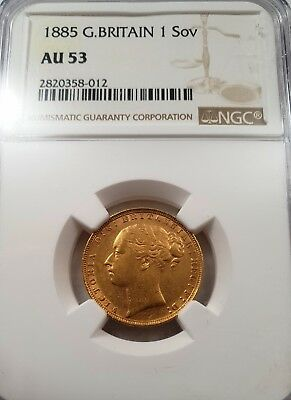 Full Sovereign 1885 Shield , AU53 condition