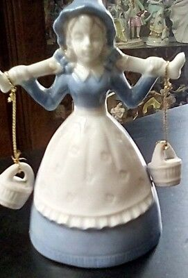 """Bell Girl Figurine, Blue And White, 4 1/4"""" X 3 """", Good Condition"""