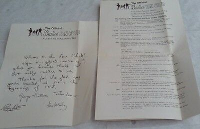 The BEATLES Fan Club  / 2 Original Papers Welcome to the fan club.....