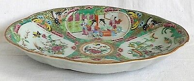 C19Th Chinese Canton Serving Dish With People, Flowers, Birds And Insects