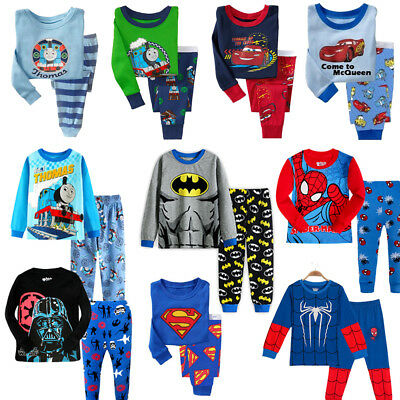 KIds Pyjamas long sleeve Boys baby Long Sleeve Batman Thomas Superman Mcqueen