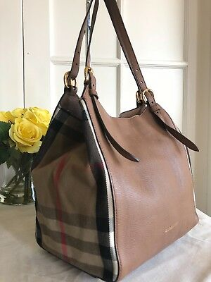 ba3fe664cbb BURBERRY CANTERBURY TOTE Leather and House Check Canvas Small ...