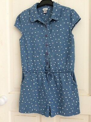 Girls denim look star patterned playsuit shorts age 12 Kylie M&Co vgc