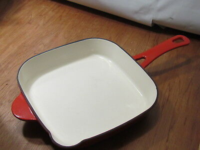 Vintage TECHNIQUE Red and White Enameled Cast Skillet Pan GREAT CONDITION!