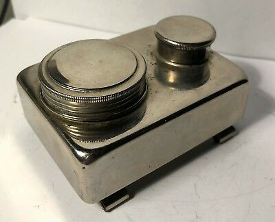 Vintage Mid-Century Modern Metal Ink Well Or Chemical Container Nickle Finish
