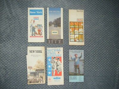 travel maps collectible New York / State Exxon Hess Getty brochure maps lot of 6