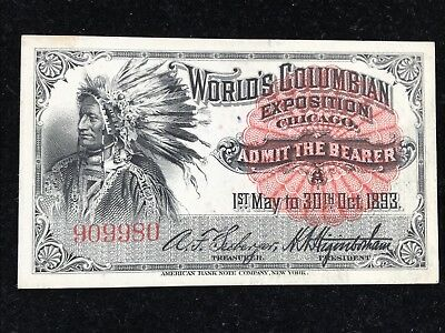 1893 Columbian Exposition Ticket- Indian: Nice Color