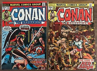 Conan the Barbarian 23 and 24. 1st appearance Red Sonja. Marvel Comics. Solid VF