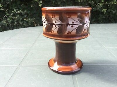 "Vintage Jersey Pottery Goblet Vase In Brown and White. 4.5"". Beautiful Condition"