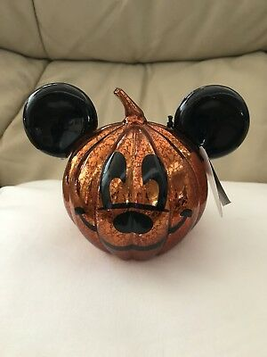 Disney Parks Halloween Mickey Mouse Light Up Glass Pumpkin New with Tags