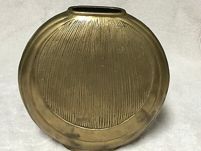 Lg Vintage 1993 Solid Heavy Brass Vase, Made In Korea, Orig Sticker $50, 4.2 Lbs