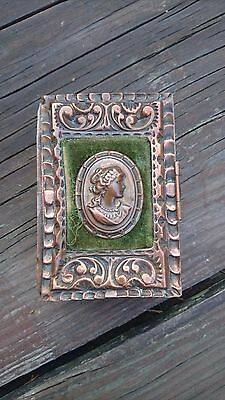 Vintage Old Rare Mexican Copper Trinket Box Velvet Lined & Victorian Lady Signed