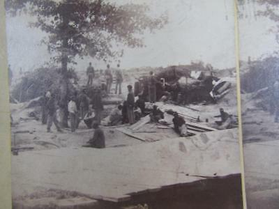 Antique Civil War Stereoview  Photo, Federal Line Of Works, Colored Negro Troops