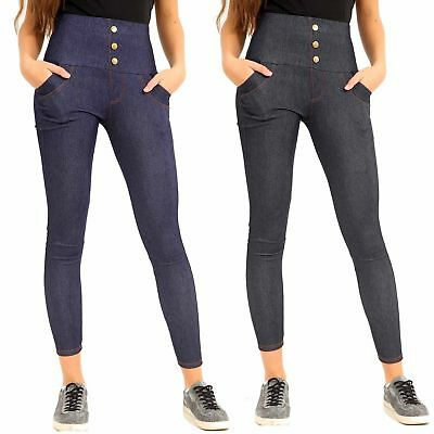 Womens Ladies 3 Button Skinny Denim Jeggings High Waist Stretch Jeans Plus Size
