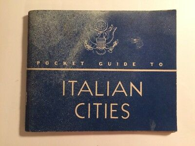 1944 WW2 US Military POCKET GUIDE TO ITALIAN CITIES w US Navy D-Day Vessel Stamp