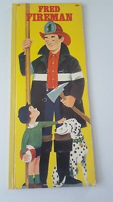 Vintage 1968 Large Fred Fireman Kids Book 16 in tall and 6 in wide