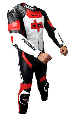 PERRINI 1pc Motorcycle Genuine Cowhide RED LEATHER Racing Suit w/ ARMOR S-4XL