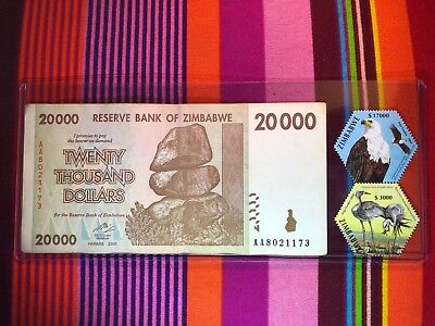 Zimbabwe 20000 Banknote & 2 Stamps(Eagle & Crane)-20,000 Set-100 Trillion Series