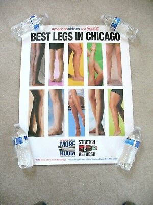 AMERICAN AIRLINES & Coca Cola - Best Legs in Chicago RARE Vintage Poster 22x28