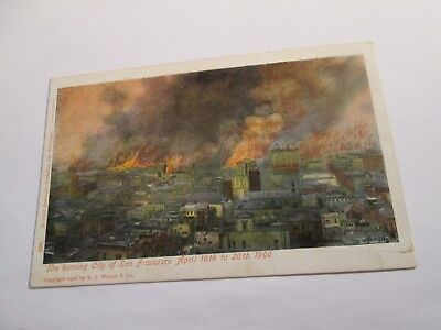 Postcard of The Burning City of San Fracisco April 18th to 20th 1906
