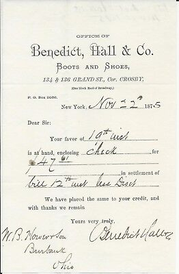 1875 New York NY Benedict, Hall & Co Boots & Shoes Receipt