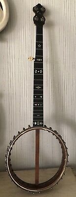 Antique Banjo 5 String Instrument Signed A.F. Eibel Inlaid Mother Of Pearl MOP