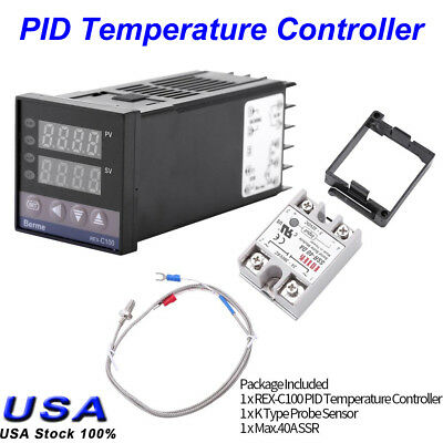 Digital PID REX-C100 Temperature Controller + 40A SSR + K Thermocouple 0 to 400℃