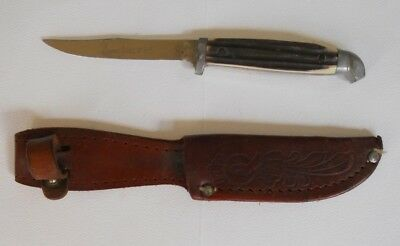 "Vintage Queen Steel #85 Fixed Blade Knife 6"" Stag Handle W/ Leather Sheath"