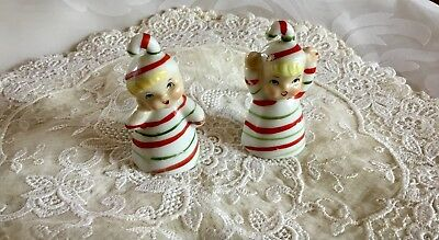 2 Two Vintage Japan Striped Candy Cane Figurine Miniature Christmas Bells